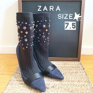 Zara - Jeweled Sock Style Heels